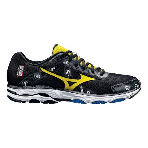 Mens Mizuno Wave Inspire 10 Running Shoe - Black/Yellow 10.5