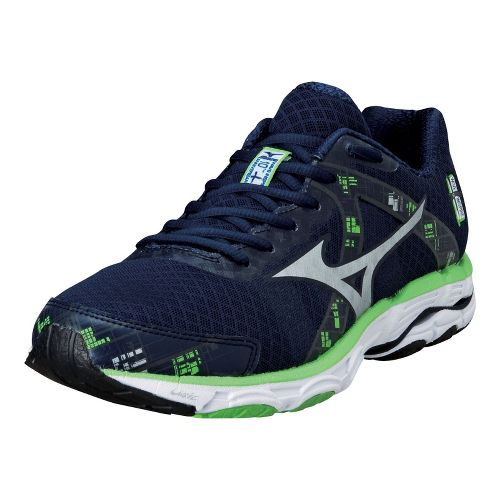 Mens Mizuno Wave Inspire 10 Running Shoe - Navy/Green 8