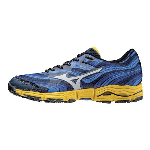 Mens Mizuno Wave Kazan Trail Running Shoe - Dress Blue/Silver 14