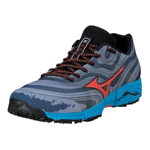 Mens Mizuno Wave Kazan Trail Running Shoe - Gunmetal/Tangerine Tango 12.5