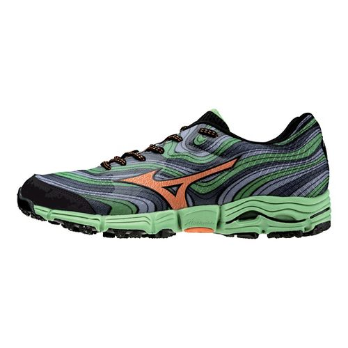 Mens Mizuno Wave Kazan Trail Running Shoe - Grey/Green 9.5