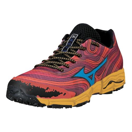 Mens Mizuno Wave Kazan Trail Running Shoe - Red/Orange 10