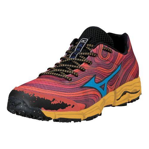 Mens Mizuno Wave Kazan Trail Running Shoe - Red/Orange 10.5