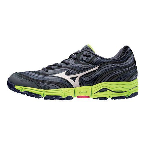 Mens Mizuno Wave Kazan Trail Running Shoe - Charcoal/Lime 12.5
