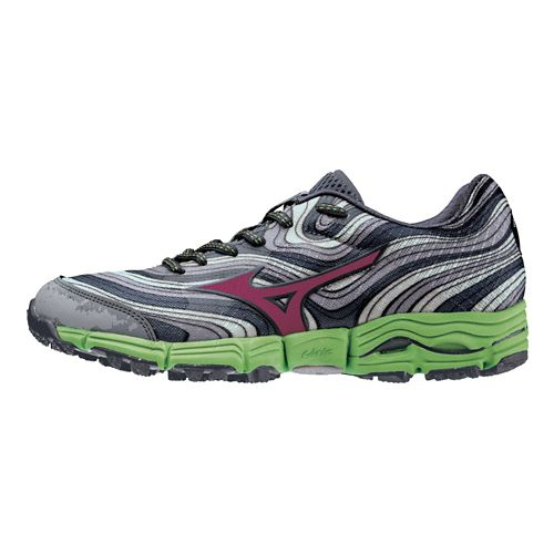 Womens Mizuno Wave Kazan Trail Running Shoe - Silver/Green 11