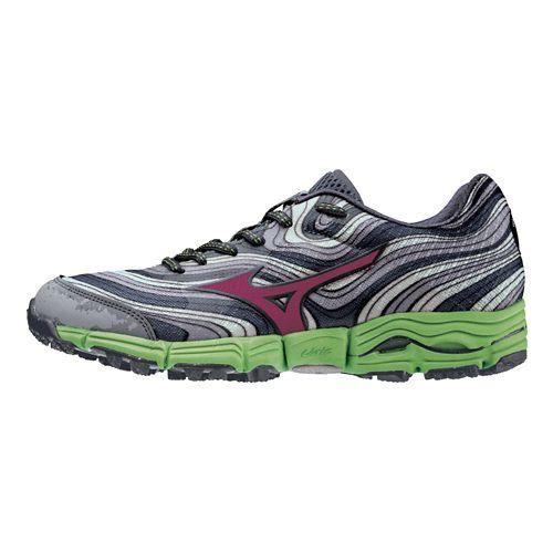 Womens Mizuno Wave Kazan Trail Running Shoe - Silver/Green 9.5