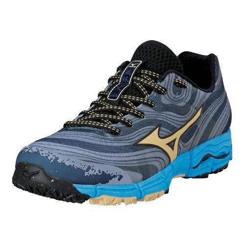 Womens Mizuno Wave Kazan Trail Running Shoe - Gunmetal/Yellow Cream 10