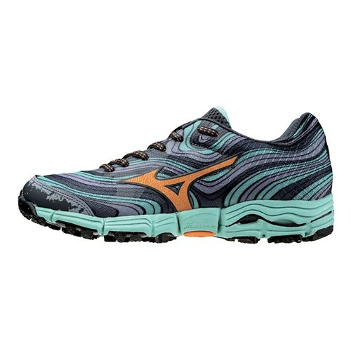 Womens Mizuno Wave Kazan Trail Running Shoe - Grey/Florida Keys 7.5