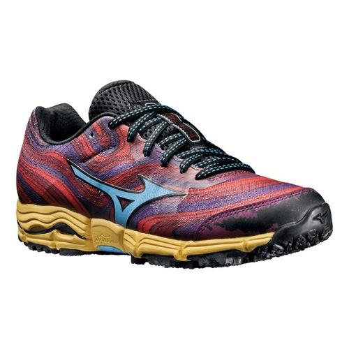 Womens Mizuno Wave Kazan Trail Running Shoe - Purple/Red 7.5