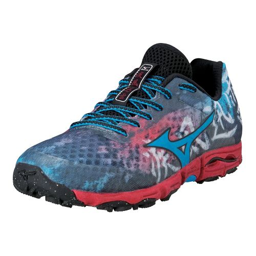 Mens Mizuno Wave Hayate Trail Running Shoe - Blue/Red 12.5