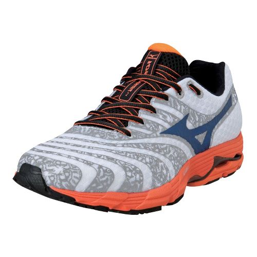 Mens Mizuno Wave Sayonara 2 Running Shoe - White/Vibrant Orange 12.5
