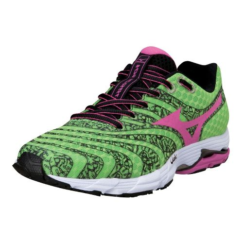 Womens Mizuno Wave Sayonara 2 Running Shoe - Green Flash/Electric 6