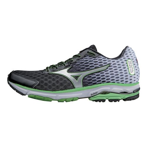 Mens Mizuno Wave Rider 18 Running Shoe - Black/Green 10