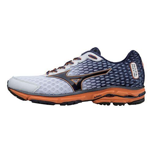 Mens Mizuno Wave Rider 18 Running Shoe - White/Blue 12