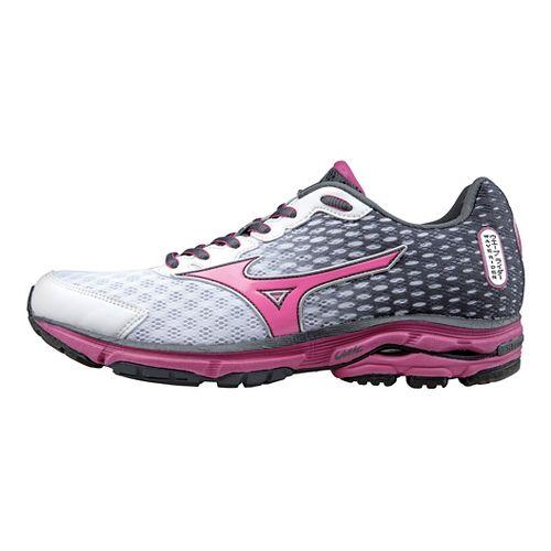 Womens Mizuno Wave Rider 18 Running Shoe - White/Pink 8.5
