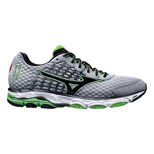 Mens Mizuno Wave Inspire 11 Running Shoe - Silver/Green 11.5
