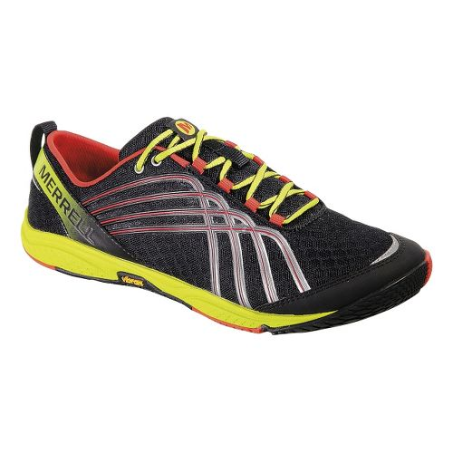 Mens Merrell Road Glove 2 Running Shoe - Black/Lime 10.5