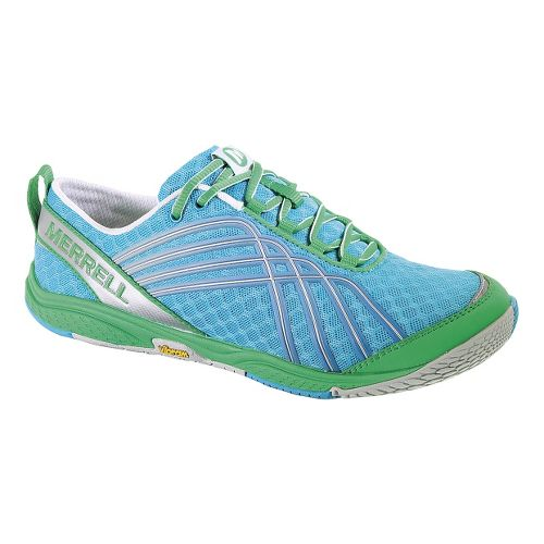 Womens Merrell Road Glove Dash 2 Running Shoe - Blue/Green 5.5