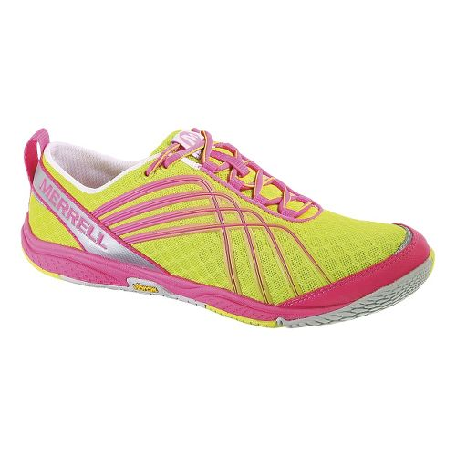 Womens Merrell Road Glove Dash 2 Running Shoe - Yellow/Pink 10.5