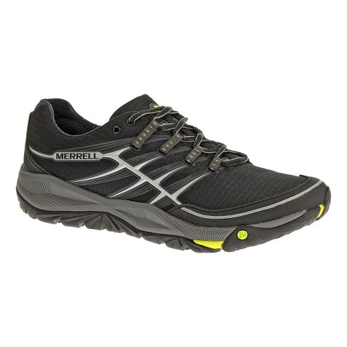 Mens Merrell AllOut Rush Trail Running Shoe - Black/Lime 10.5