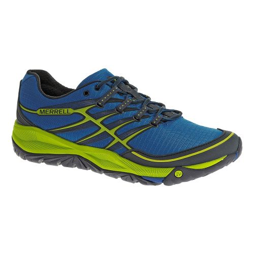Mens Merrell AllOut Rush Trail Running Shoe - Blue/Lime 12.5