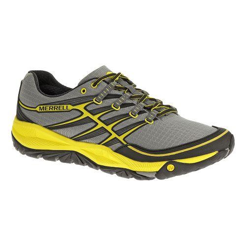 Mens Merrell AllOut Rush Trail Running Shoe - Grey/Yellow 7.5