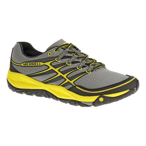 Mens Merrell AllOut Rush Trail Running Shoe - Grey/Yellow 8.5