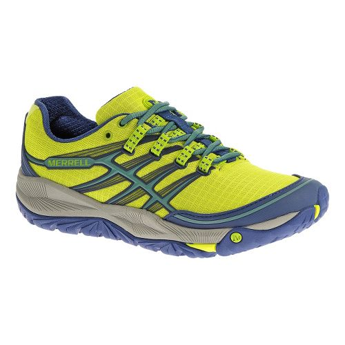 Womens Merrell AllOut Rush Trail Running Shoe - High Viz/Blue 10.5