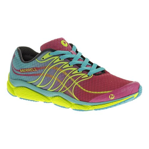 Womens Merrell AllOut Flash Running Shoe - Wine/Lime 8.5