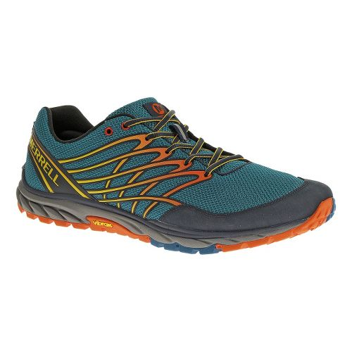 Mens Merrell Bare Access Trail Trail Running Shoe - Blue/Orange 11.5