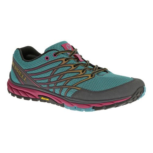 Womens Merrell Bare Access Trail Running Shoe - Blue/Gold 5.5