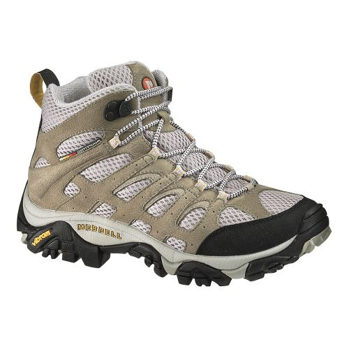Womens Merrell Moab Mid Ventilator Hiking Shoe - Taupe 7.5