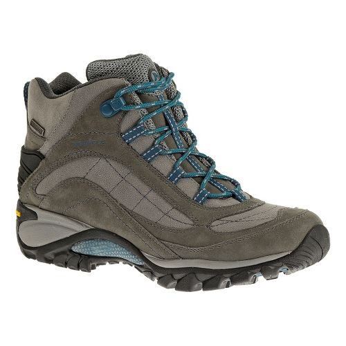 Womens Merrell Siren Waterproof Mid Leather Hiking Shoe - Castlerock/Blue 10.5