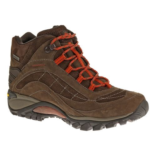 Womens Merrell Siren Waterproof Mid Leather Hiking Shoe - Dark Earth/Red 11
