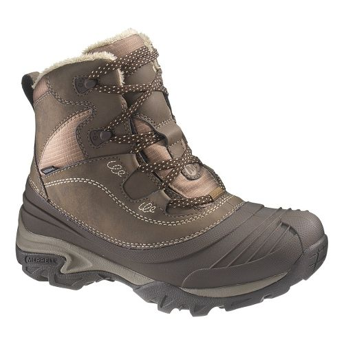 Womens Merrell Snowbound Mid Waterproof Hiking Shoe - Dark Earth 7.5