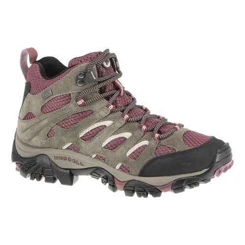 Womens Merrell Moab Mid Waterproof Hiking Shoe - Boulder/Blush 7.5