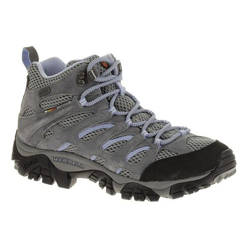 Womens Merrell Moab Mid Waterproof Hiking Shoe - Grey/Periwinkle 8.5