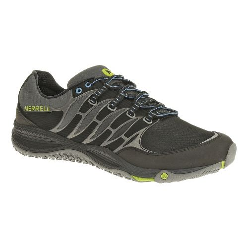 Mens Merrell Allout Fuse Trail Running Shoe - Black/Lime 7.5