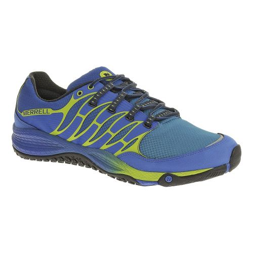 Mens Merrell Allout Fuse Trail Running Shoe - Blue/Lime 12.5