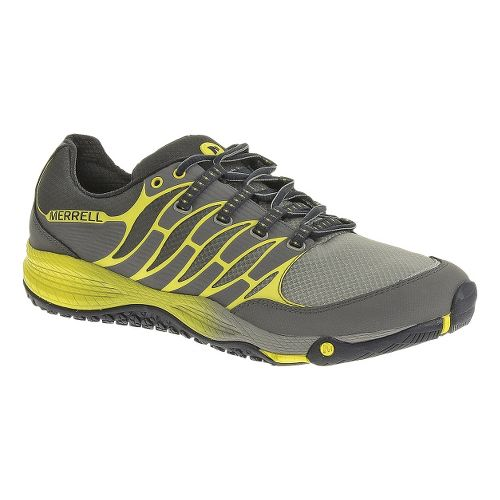 Mens Merrell Allout Fuse Trail Running Shoe - Castlerock/Yellow 7