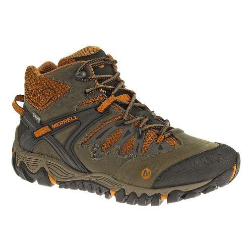 Mens Merrell Allout Blaze Mid Waterproof Hiking Shoe - Boulder/Tanga 10