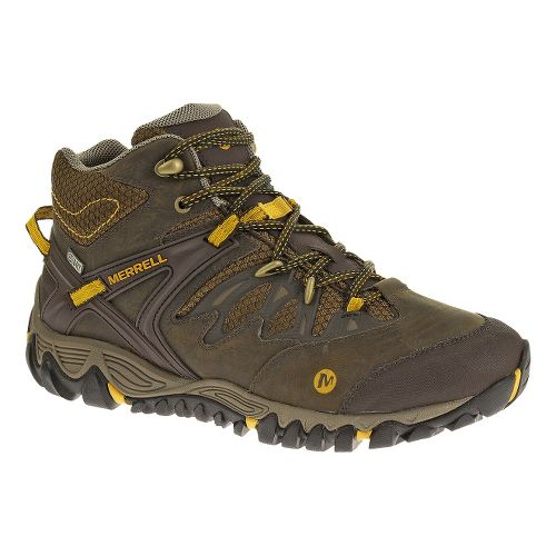 Mens Merrell Allout Blaze Mid Waterproof Hiking Shoe - Black Slate/Yellow 10