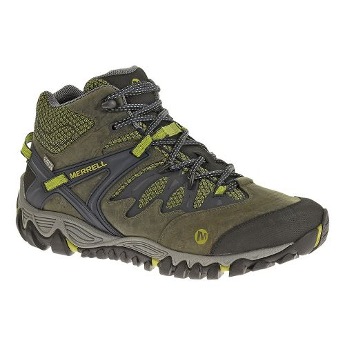Mens Merrell Allout Blaze Mid Waterproof Hiking Shoe - Navy/Moss 7.5