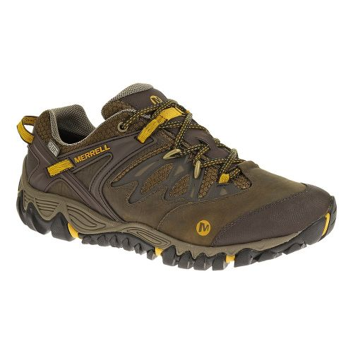 Mens Merrell Allout Blaze Waterproof Hiking Shoe - Black Slate/Yellow 12