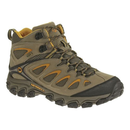 Mens Merrell Pulsate Mid Waterproof Hiking Shoe - Brindle/Boulder 13