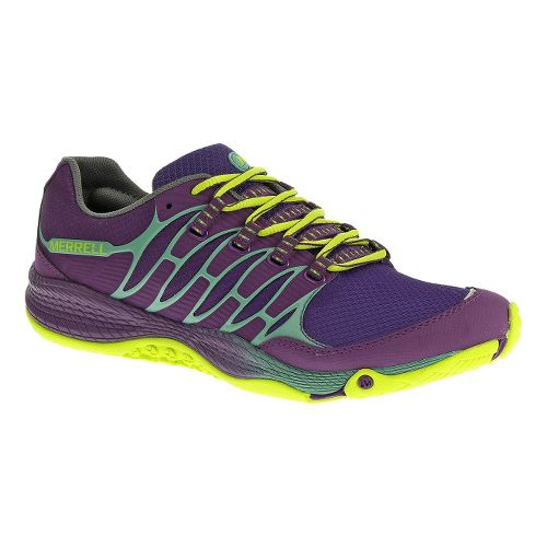 Womens Merrell Allout Fuse Trail Running Shoe - Purple/Lime 7.5