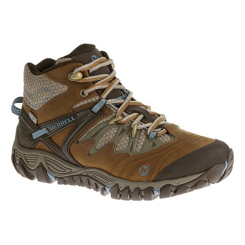 Womens Merrell Allout Blaze Mid Waterproof Hiking Shoe - Brown Sugar 9