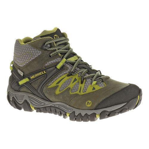Womens Merrell Allout Blaze Mid Waterproof Hiking Shoe - Charcoal/Moss 10.5