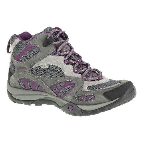Womens Merrell Azura Mid Waterproof Hiking Shoe - Castlerock/Purple 9.5