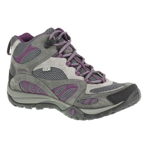 Womens Merrell Azura Mid Waterproof Hiking Shoe - Castlerock/Purple 9.5